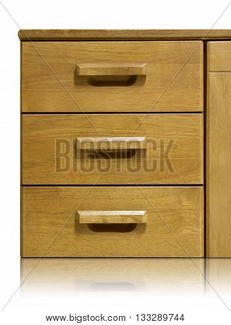 wooden drawer isolated on a white background