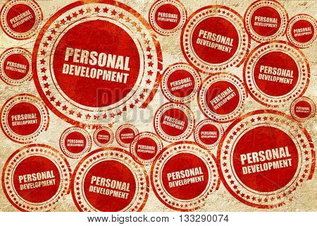 personal development, red stamp on a grunge paper texture