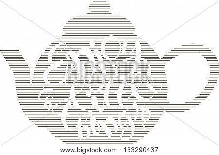 Typography banner Enjoy the little things. White lettering on striped teapot, hand drawing on white, vector illustration