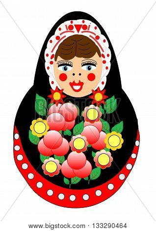 A nesting doll with rich flower ornaments, earrings and decorations. The original nesting doll is made out of wood and has a bell sound inside.