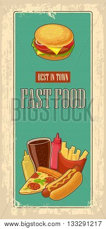 Fast food poster with vintage background. Set icon. Glass of cola hamburger pizza hotdog fries potato in red paper box bottles of ketchup and mustard. Vector flat illustration.