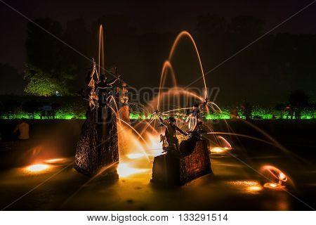 Fountain In The Great Garden Of The Herrenhausen Gardens In Hanover, Germany, At Night
