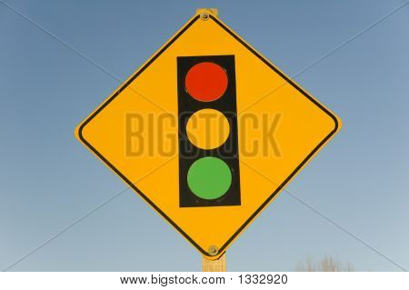 Traffic Light Warning Sign For Oncoming Traffic