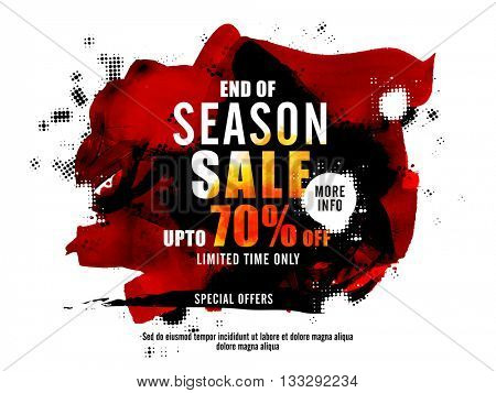 End of Season Sale Poster, Sale Banner, Sale Flyer, Upto 70% off, Limited Time Sale, Sale with special offer, Creative abstract background with brush strokes.