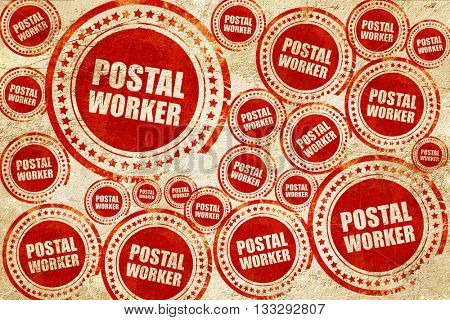 postal worker, red stamp on a grunge paper texture