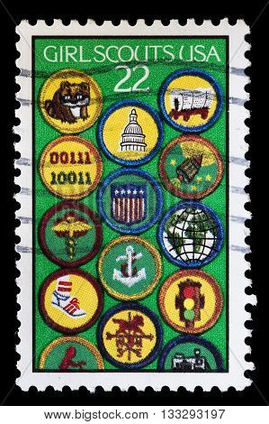 United States Used Postage Stamp Showing Girl Scouting Symbols