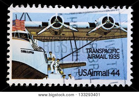 United States Used Postage Stamp Showing Aircraft For Transpacifc Flights