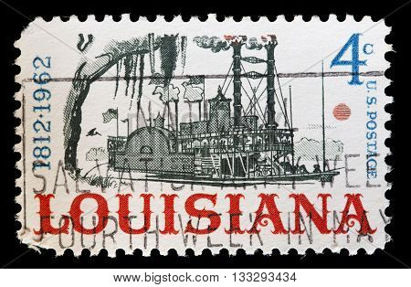United States Used Postage Stamp Showing Steamboat On Mississippi Louisiana