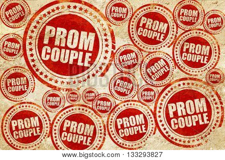 prom couple, red stamp on a grunge paper texture