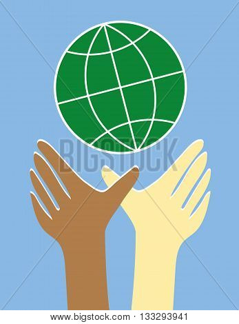 Two hands and arms in brown and white reaching upwards to a stylized globe of the world as a symbol for equality and diversity