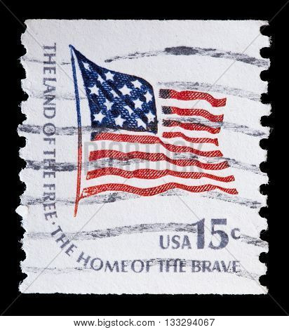 United States Used Postage Stamp Showing Flapping Flag Of Usa