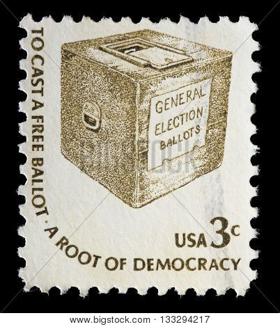 United States Used Postage Stamp Showing A Ballot Box