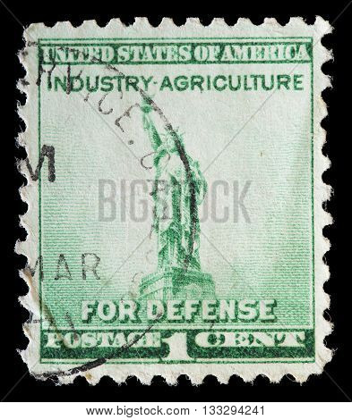United States Used Postage Stamp Representing Industry Agriculture For Defense
