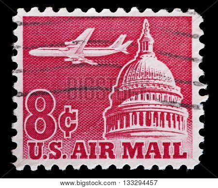 United States Used Postage Stamp Showing Jetliner Over Capitol Building