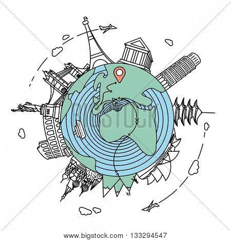 Famous landmarks and travel destinations around the globe. Travel flat line style illustration