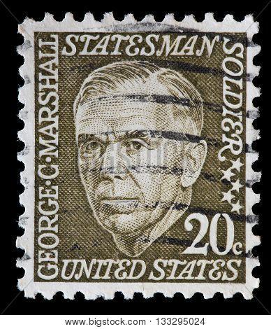 United States Used Postage Stamp Showing George Catlett Marshall