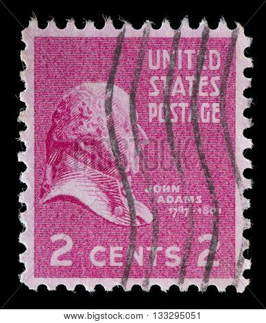 United States Used Postage Stamp Showing President John Adams