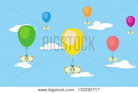 Vector illsustration of flying dollar money on air balloons in the sky. Risk investment saving. Finance freedom. Easy money profit. Increase credit.