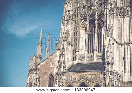 Architectural Exterior Close Up of Gothic Facade of Ulm Minster Church, a Lutheran Church in Ulm, Germany and Popular Tourist Attraction with Tallest Steeple in the World