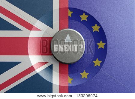 Brexit dial pointer inbetween British and European flags with brexit question