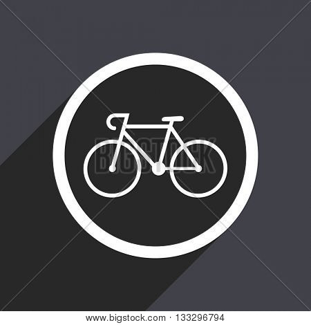 bicycle icon, gray vector flat design internet button, web and mobile app illustration