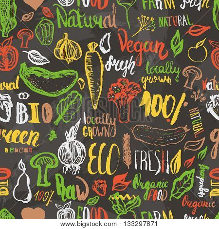 Eco food hand drawn seamless pattern. Vector vegetarian background. Modern food pattern with lettering for wrapping, menu. Healthy vegetarian food