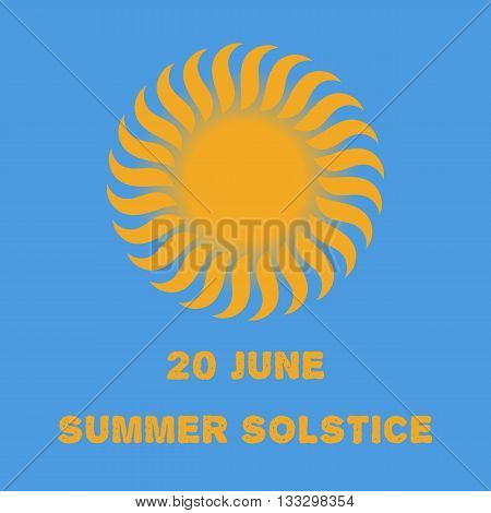 Emblem or poster of the sun on a blue background for a holiday of day of a solstice