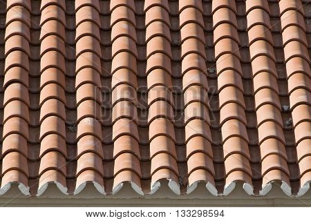 Closeup of old roof tiles Spain, texture background