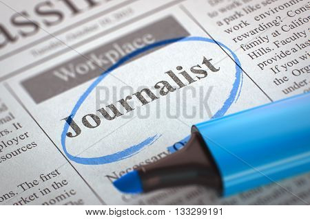 Journalist. Newspaper with the Job Vacancy, Circled with a Blue Marker. Blurred Image with Selective focus. Job Seeking Concept. 3D Rendering.