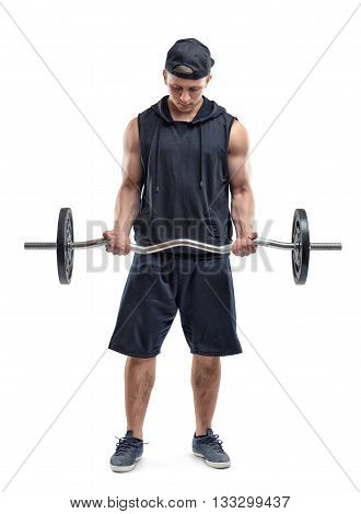 Cut Out fitness man lifting a barbell by both hands and training his biceps. Self improvement. Power training. Healthy lifestyle. Fitness and sport. Biceps Exercises. Self-perfection.