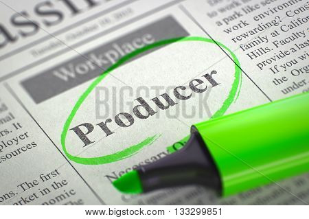 Producer. Newspaper with the Small Advertising, Circled with a Green Marker. Newspaper with Classified Advertisement of Hiring Producer. Blurred Image with Selective focus. Job Seeking Concept. 3D.