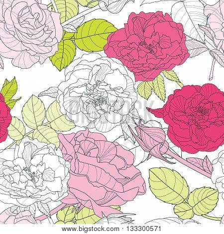 Vector Seamless Vintage Pattern With Hand Drawn Roses Flowers. Floral Background With Pink Roses And