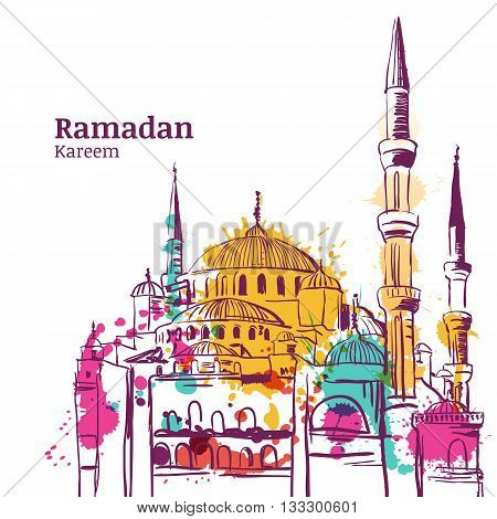 Ramadan Kareem Holiday Design. Watercolor Sketch Illustration Of Mosque. Vector Ramadan Holiday Wate