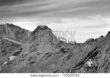 Black And White High Mountains In Winter Evening
