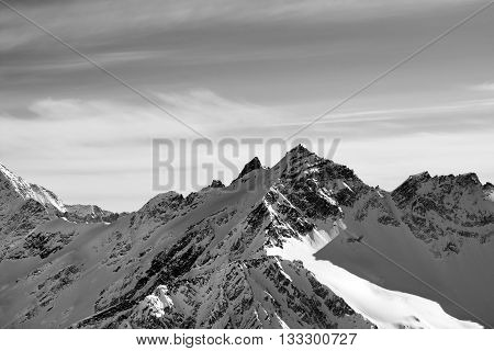 Black And White High Mountains In Winter