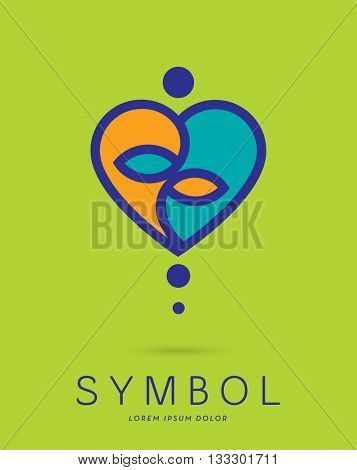AN ABSTRACT YIN YANG , MADE WITH A HEART AND AN ABSTRACT MEDITATING SILHOUETTE . VECTOR ICON / LOGO