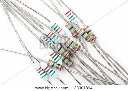 Bundle Of Resistors Against A White Background Closeup