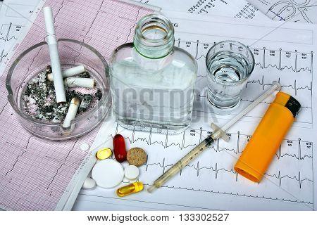 Cigarettes, Vodka And Drugs, Pills