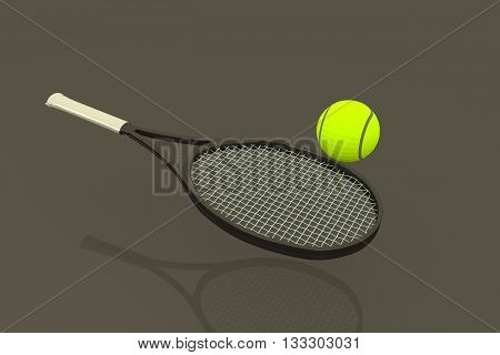 3D rendering of tenis ball and racket in glossy background