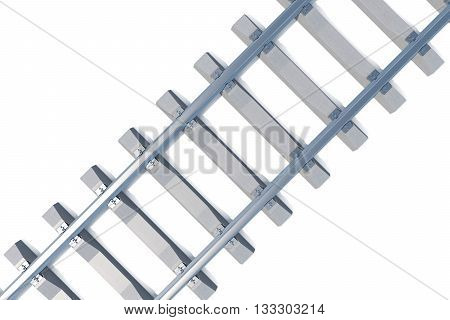 Railroad view from above at an angle isolated on white background, 3d illustration