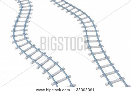 Railroads aerial view isolated on white background, 3d illustration