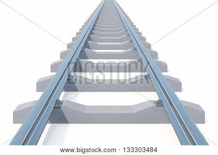 Railroad going into the distance isolated on white background. Road to nowhere, 3d illustration.