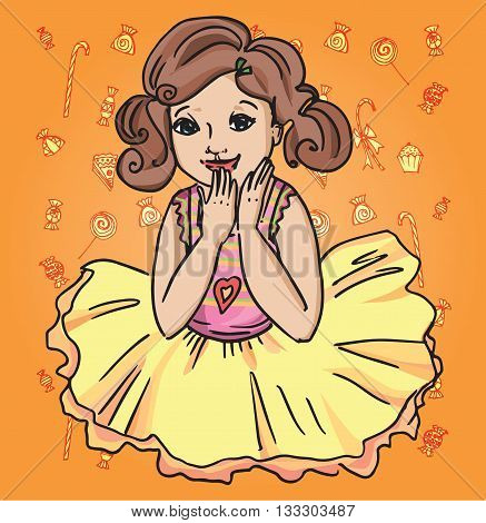 Joyful girl in a skirt. Childhood and young women