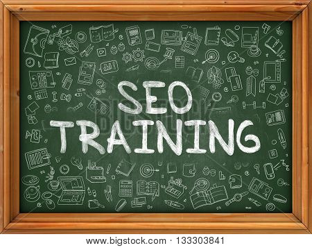 SEO - Search Engine Optimization - Training Concept. Modern Line Style Illustration. SEO Training Handwritten on Green Chalkboard with Doodle Icons Around. Doodle Design Style of SEO Training Concept.