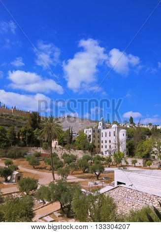 Christian monastery in Jerusalem, Israel. Beautiful bell tower surmounted by a cross