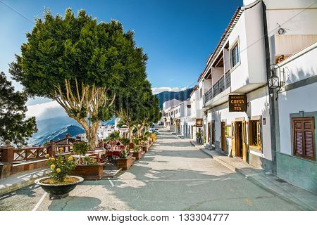 TEJEDA, GRAN CANARIA, SPAIN-MAY 17, 2016: Main street in Tejeda village on May 17, 2016. at Gran Canaria, Spain.