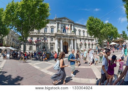 Avignon, France. July 2015. The annual festival of Avignon attracts large numbers of people to this City. Unidentified people.