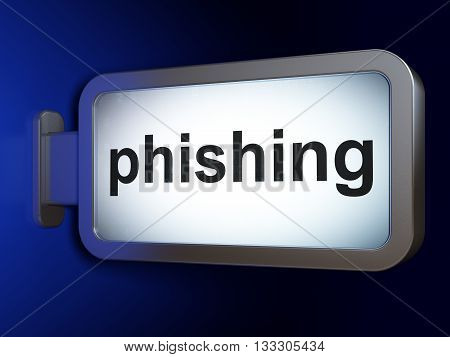 Safety concept: Phishing on advertising billboard background, 3D rendering