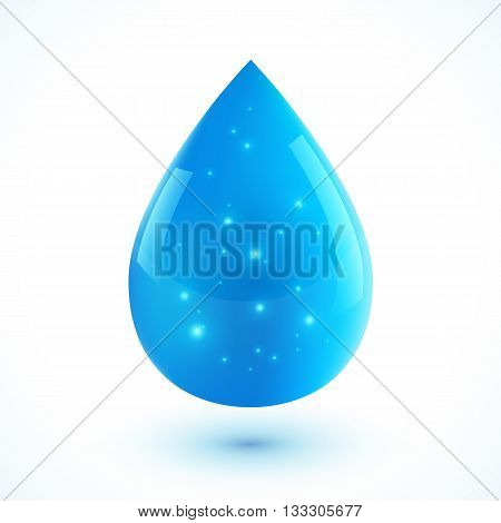 Blue vector realistic ion water drop isolated on white background