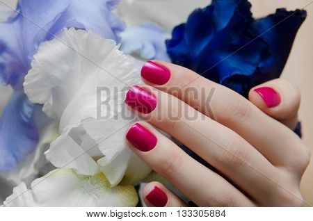 Beautiful female hand with pink nail design and flowers on a background.